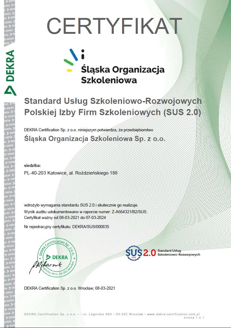 Certyfikat SUS 2.0